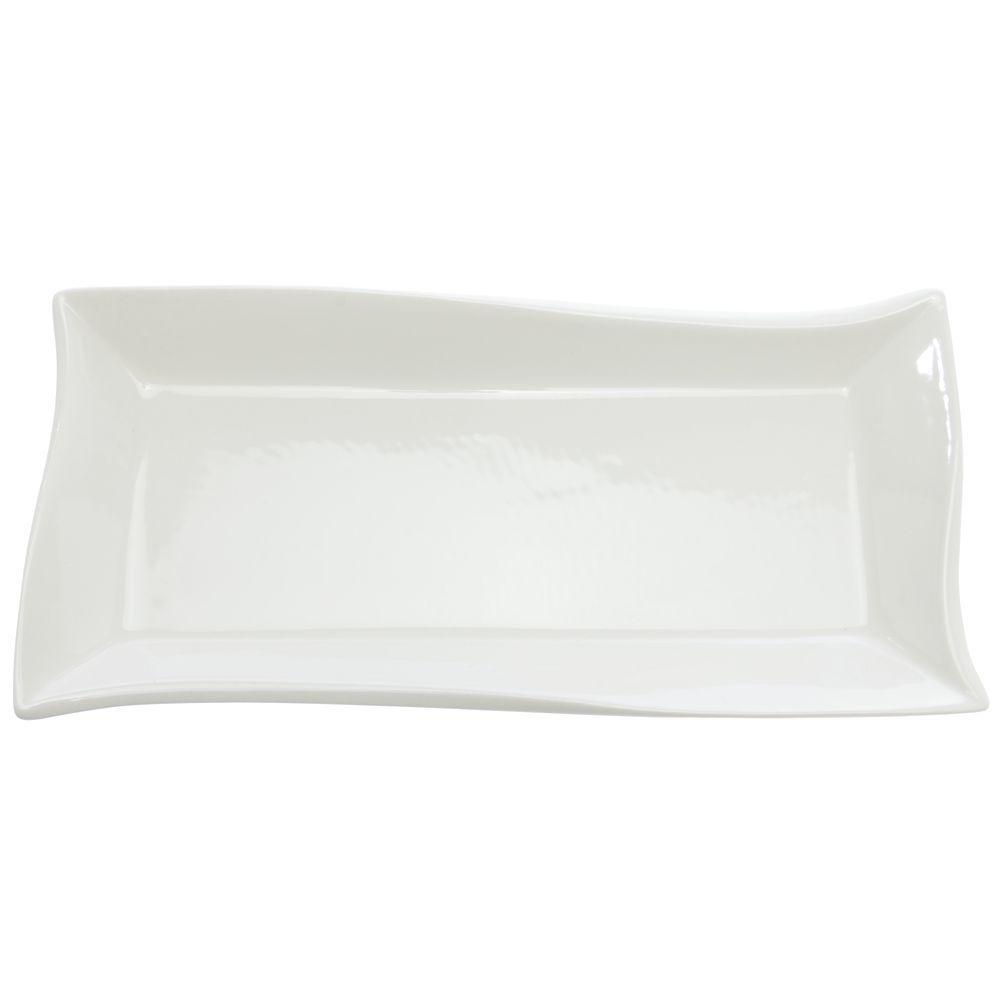 International Tableware White Porcelain Wave Platter - 11 3/4\ L x 5 3/4\ W x 1 1/4\ H  sc 1 st  Hubert.com & International Tableware White Porcelain Wave Platter - 11 3/4\