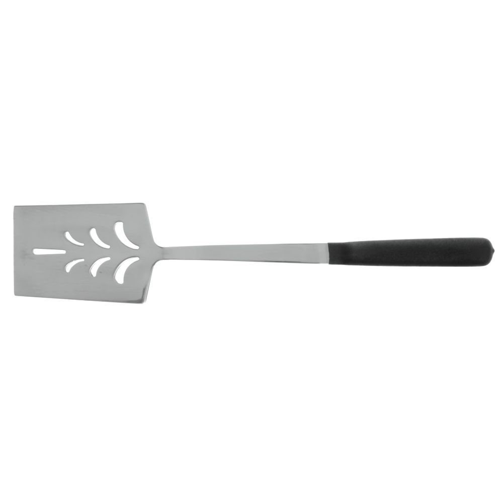 "Hubert Hollow Non-Slip Silicone Handle Metal Spatula 14""L Black Handle Stainless Steel"