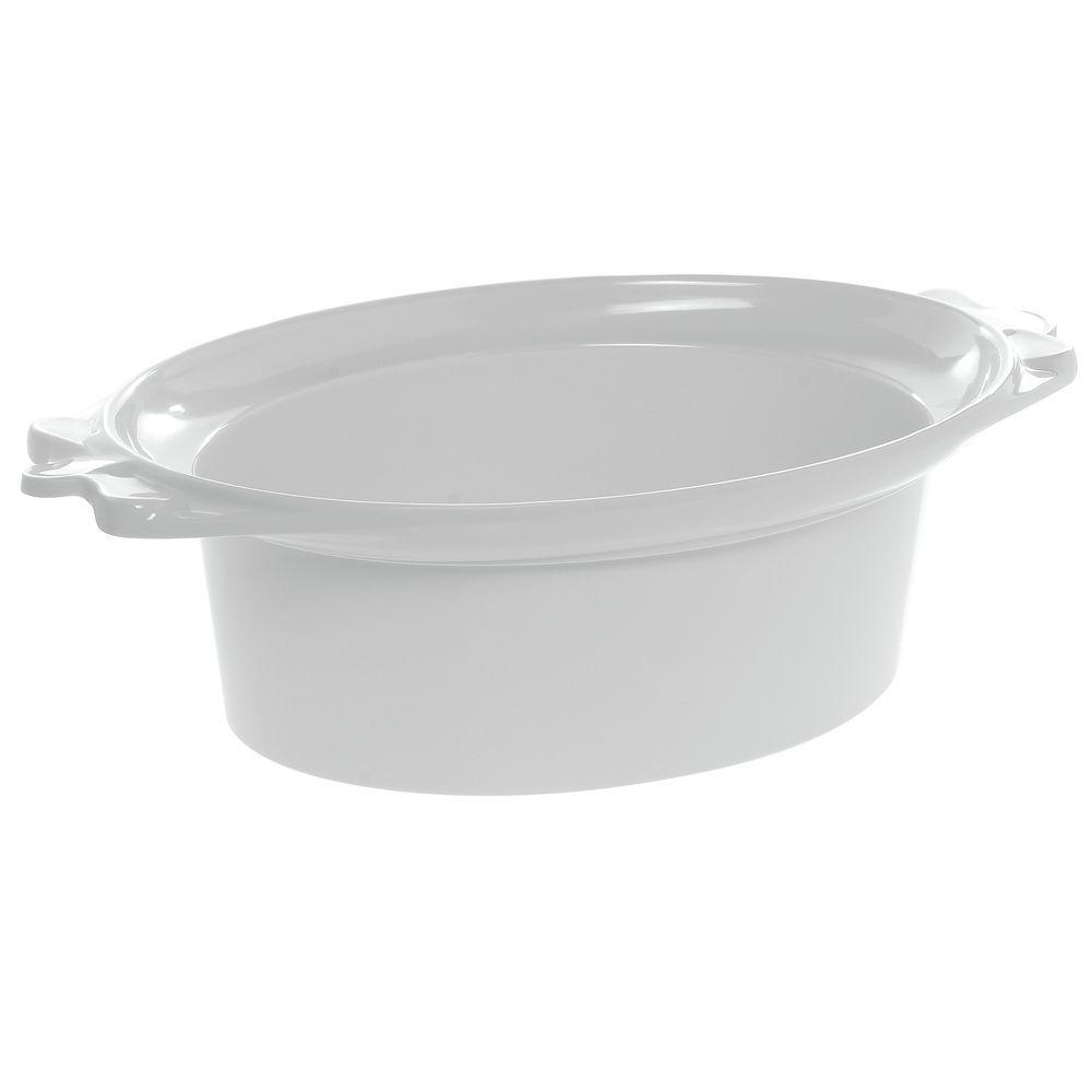 "Oval Buffet Pan in White Melamine 12 1/2""L x 17 1/2""W x 6""H"