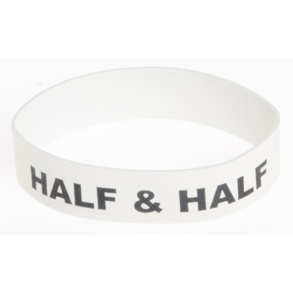 Service Ideas™ Beverage Flavor Bands White with Black Half + Half Imprint 6/Pk