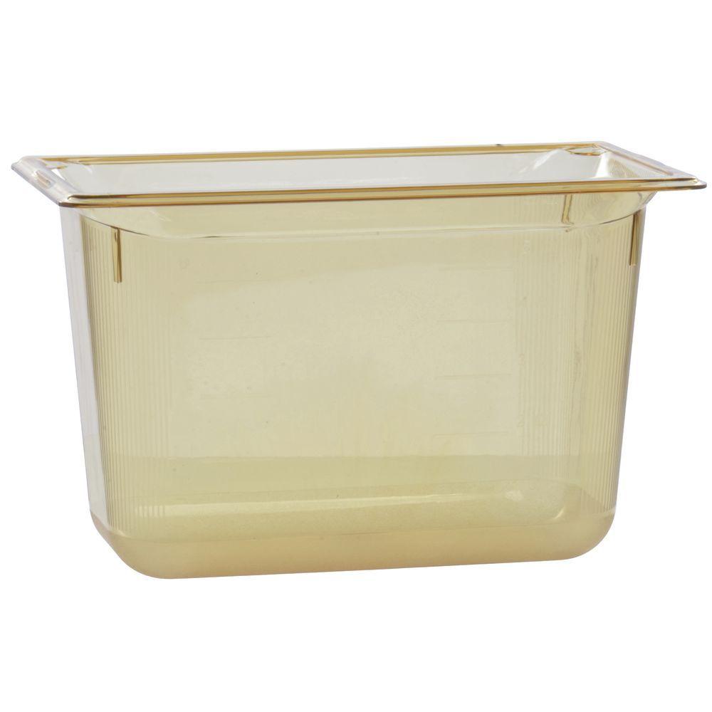"Vollrath Super Pan Plastic High Temperature Pan Amber 1/3 Size Long 8""D"
