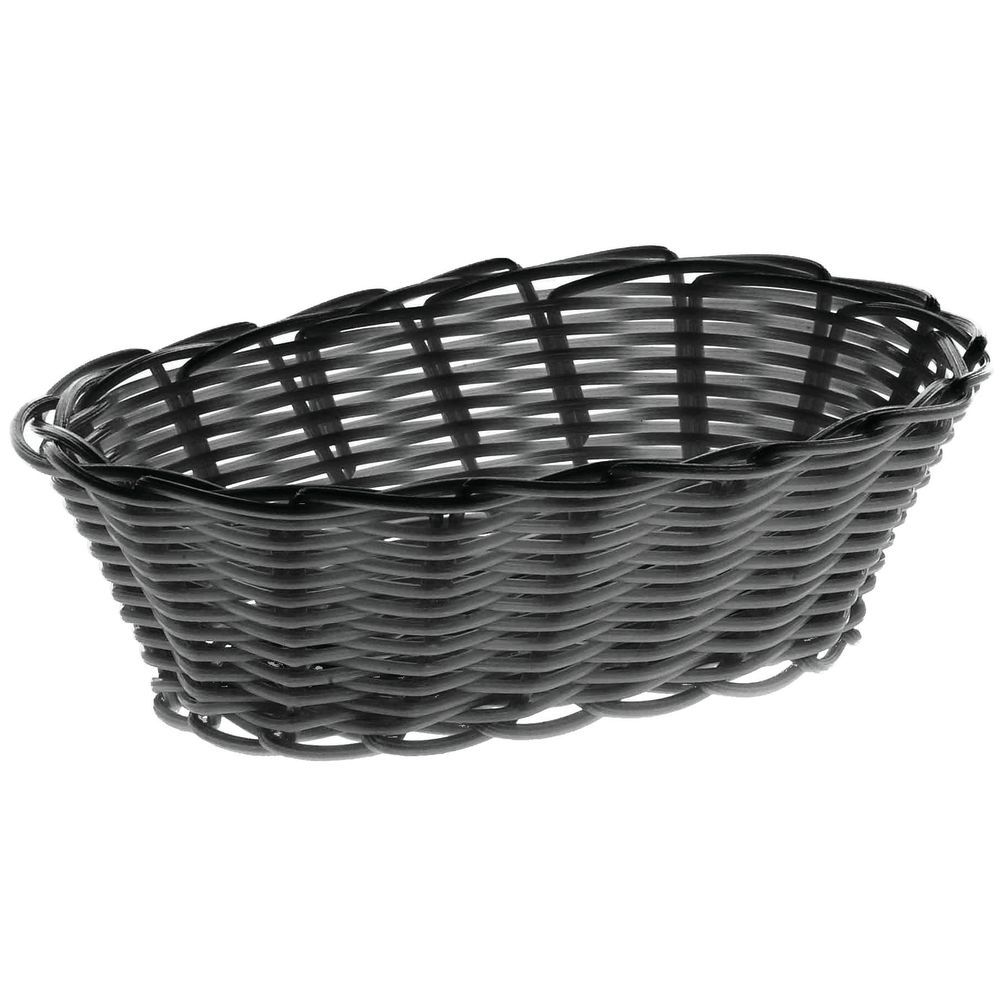 "BASKET, BREAD, OVAL, 7"", BLACK"