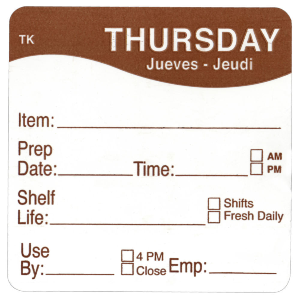 """ToughMark Days Of The Week Labels Brown Thursday 2"""" Square"""