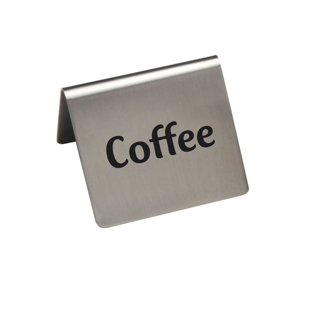 "Hubert Stainless Steel Coffee Beverage Signs 2 1/2""W x 2""D x 2 3/16""H"