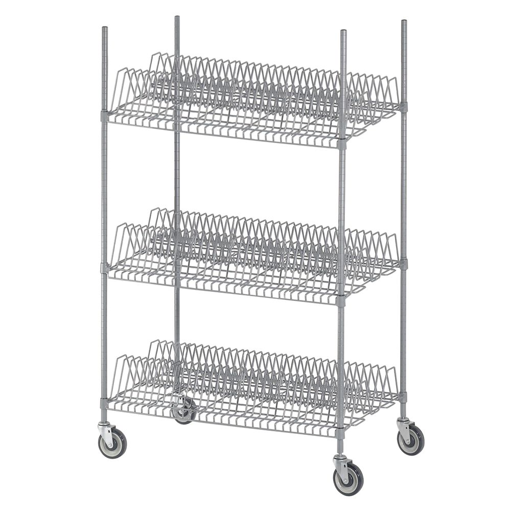 Channel Light Grey Wire Mobile Tray Drying Rack - 44\