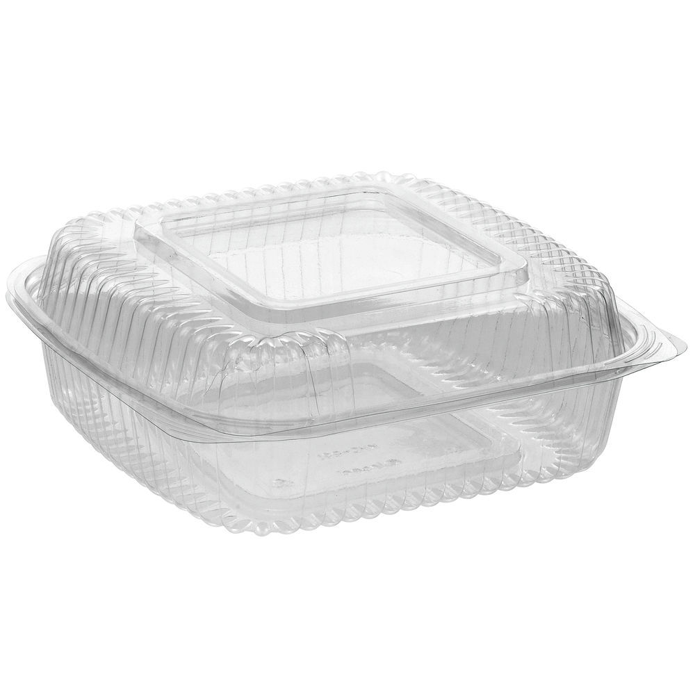CONTAINER, HINGED, CLEAR, COMPOSTABLE