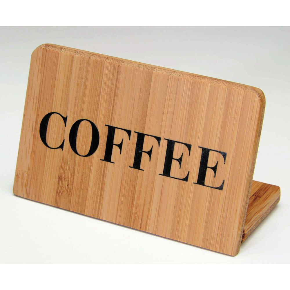 """Coffee Sign In Bamboo Is 2 1/2""""H x 3 1/2""""L x 1 3/4""""D"""