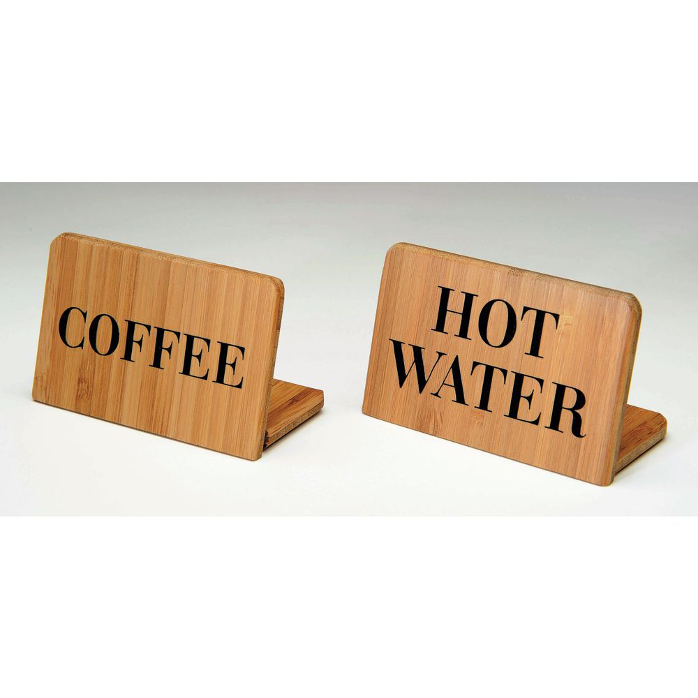 "Coffee Sign In Bamboo Is 2 1/2""H x 3 1/2""L x 1 3/4""D"