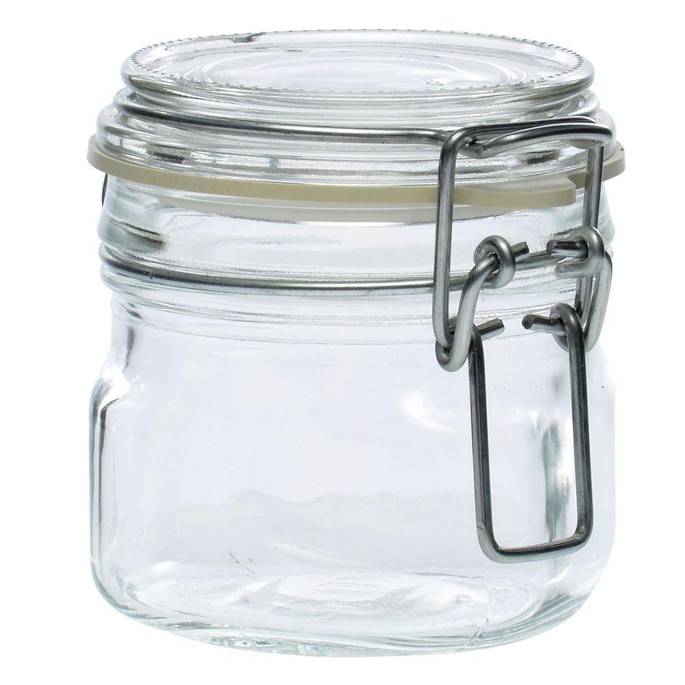 JAR, GLASS, W/CLAMP LID, 6.75 OZ