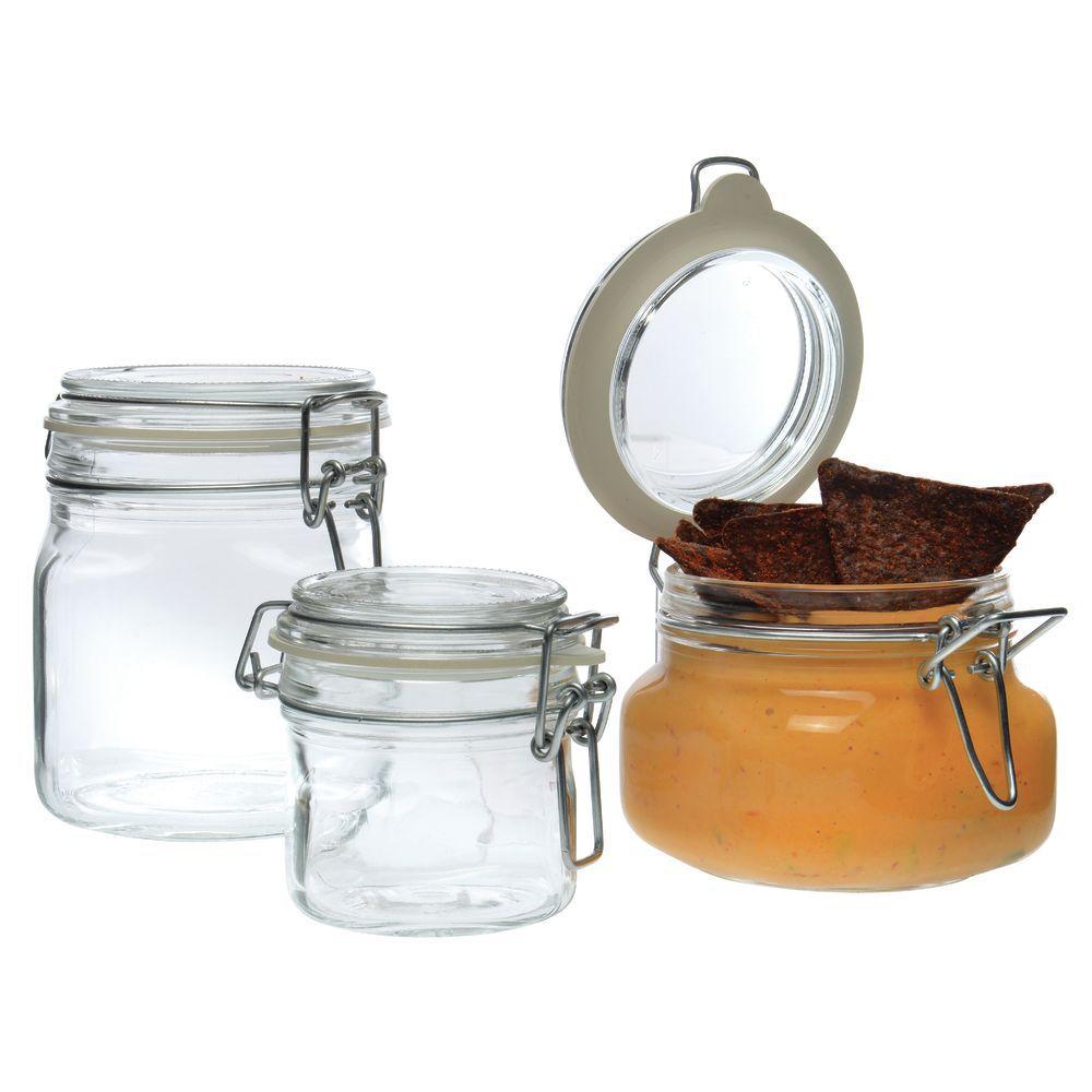 libbey oz glass jar with clamp lid. Black Bedroom Furniture Sets. Home Design Ideas