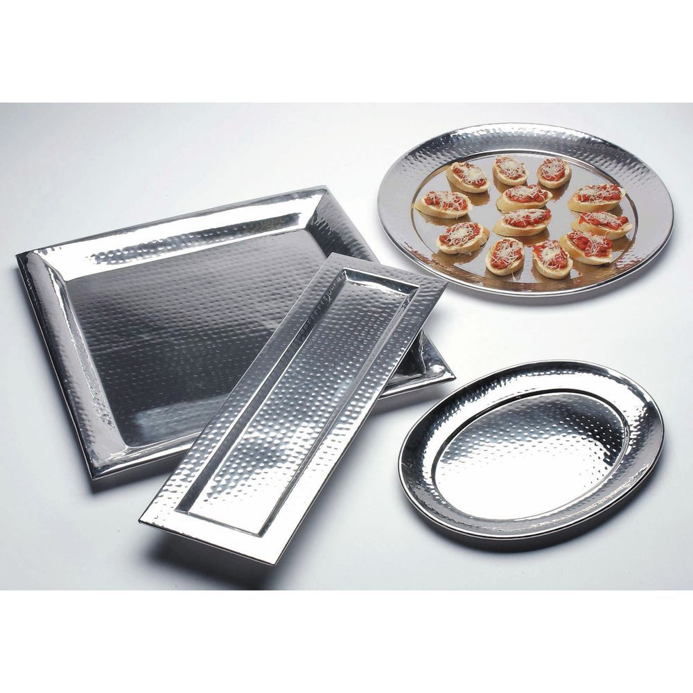 """American Metalcraft Hammered Stainless Steel Serving Tray 15""""L  x  11""""W  x  7/8""""H"""