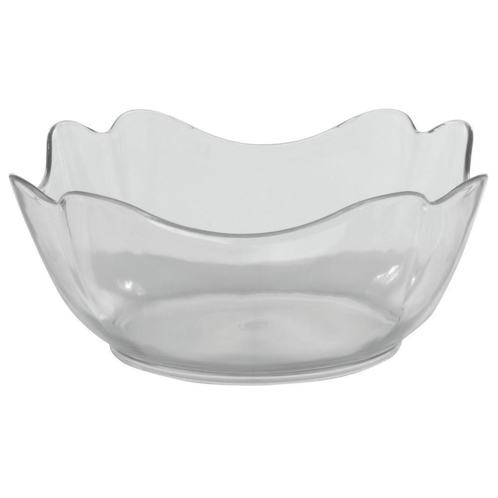 "Glossy Tulip Crock/ Square Clear Bowl in SAN Plastic 10""L x 10""W x 4 1/2""H"