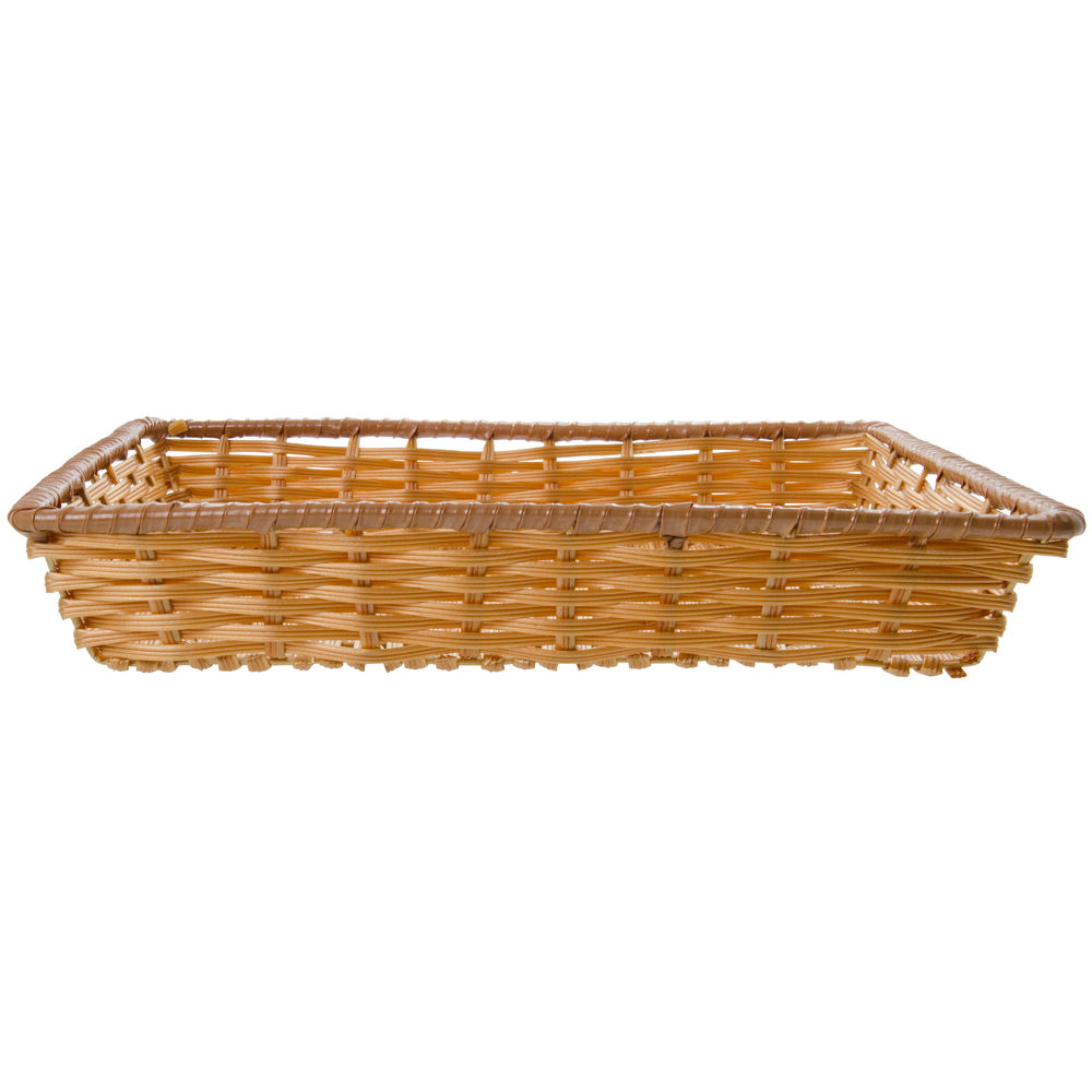 """Tri-Cord Washable Wicker Display Basket in Natural Color 18""""L x 18""""W x 3""""H"""