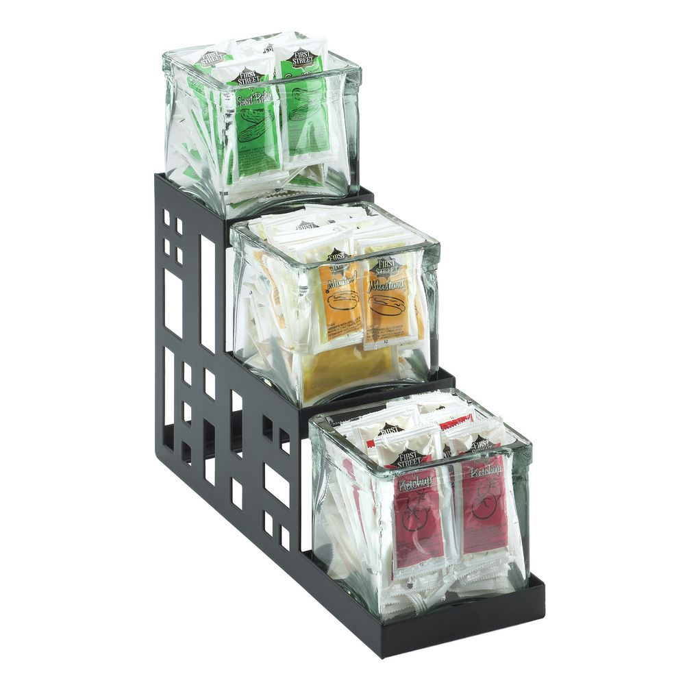Cal-Mil Condiment Organizer Stainless Steel with Glass Jars