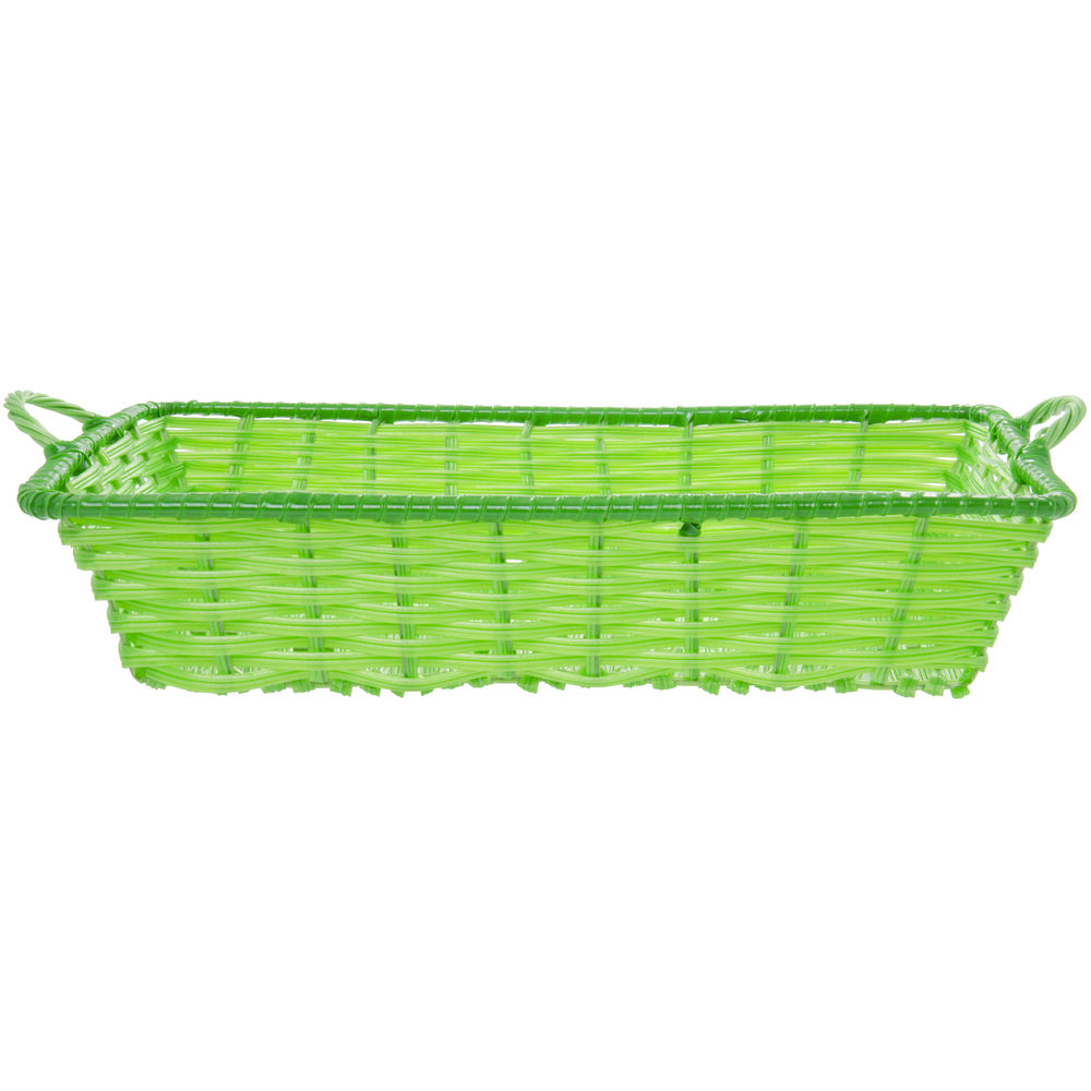 """Green Tri-Cord Washable Wicker Display Basket with Handles 18""""L x 12""""W x 3 1/2""""D"""