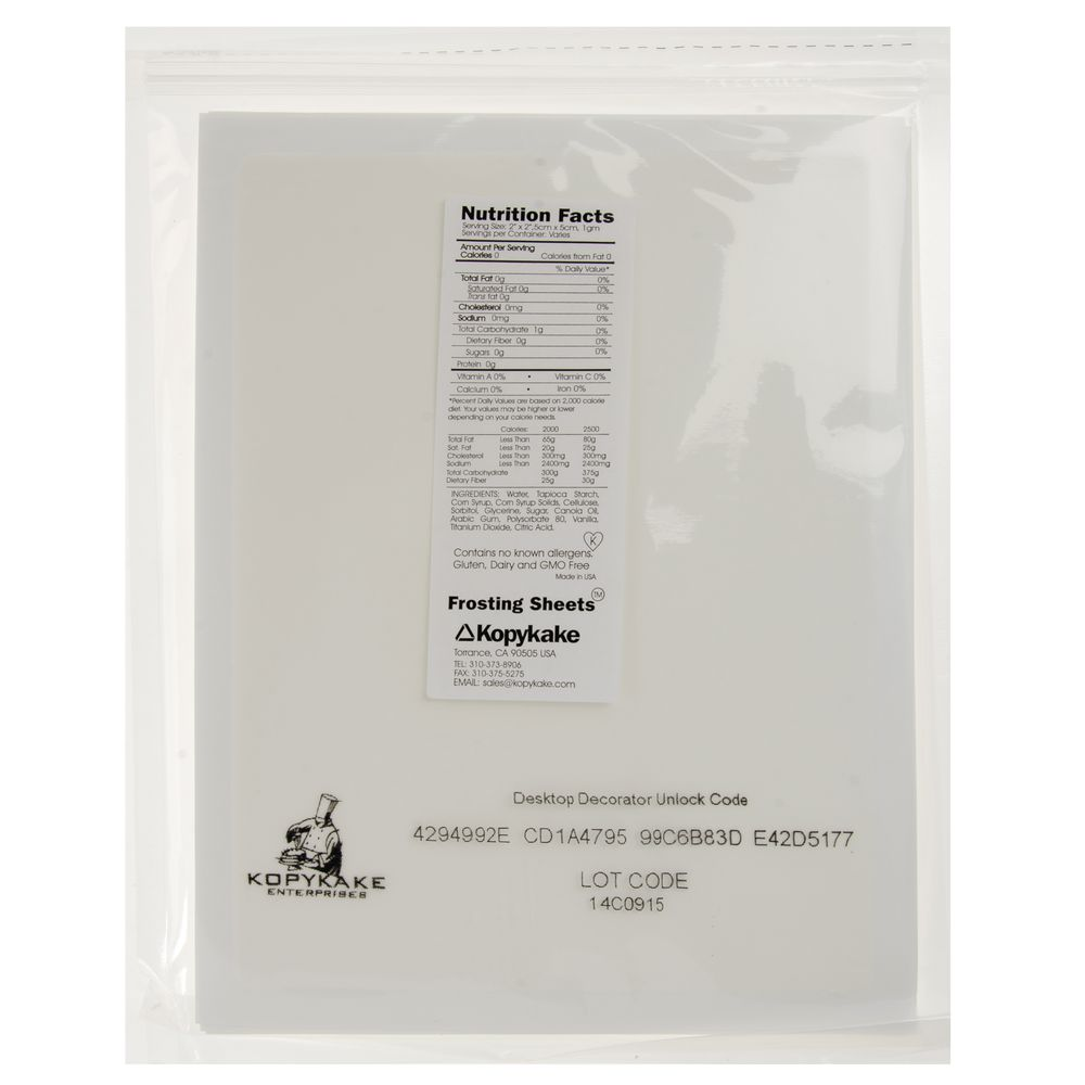 """SHEETS, FROSTING, EDIBLE, 7.5X10"""", 24 PACK"""