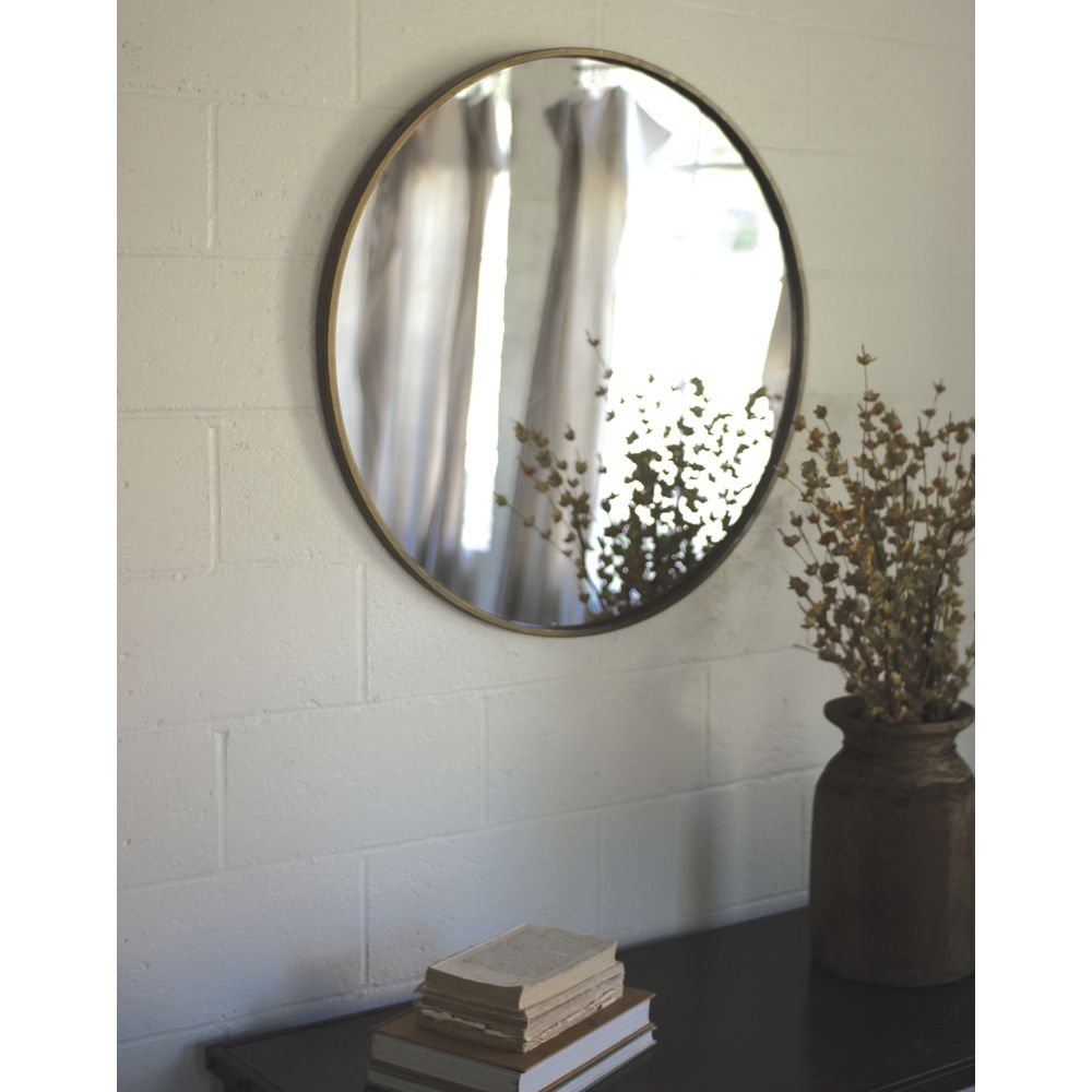 "MIRROR, ROUND, ANTIQUE BRASS, 33""DIA"