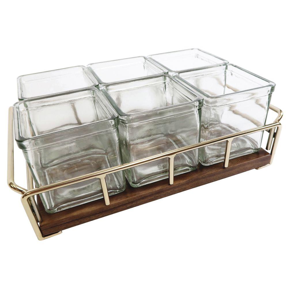 HOLDER, W/6 GLASS JAR, MID-CENTURY, BRASS