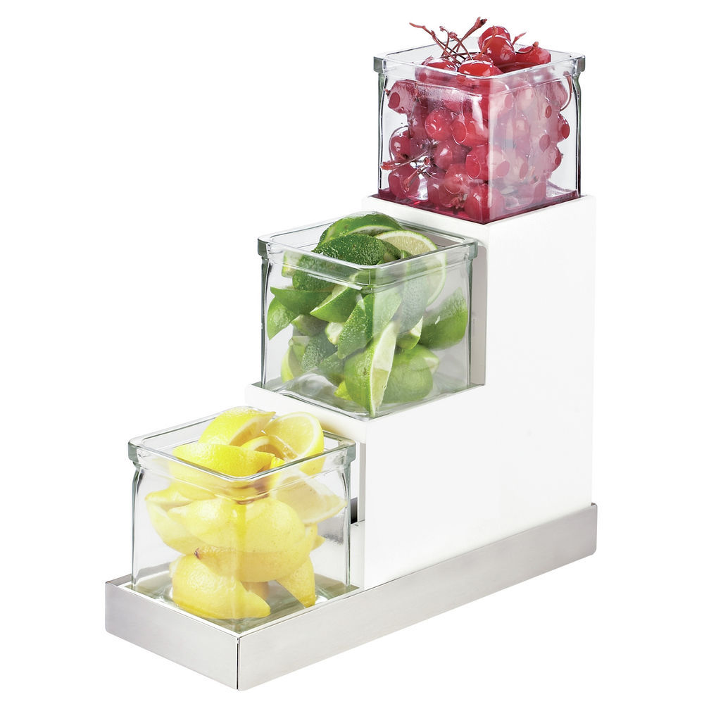 HOLDER, LUXE, STAIRSTEP W/GLASS JARS, SILVE