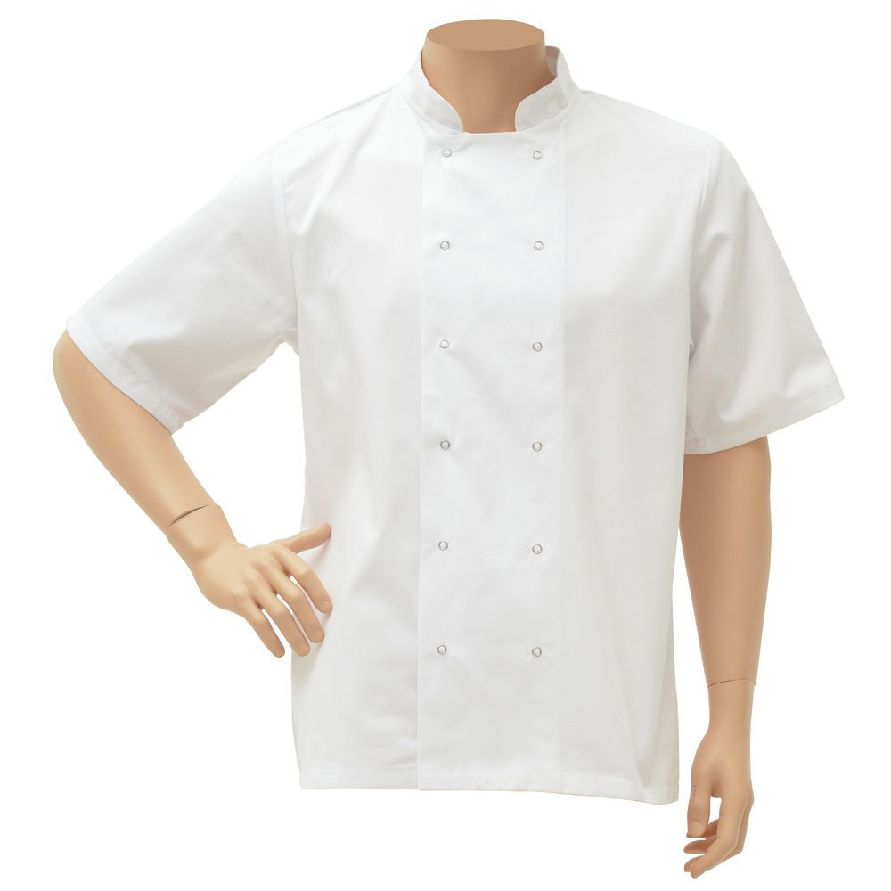 JACKET, CHEF, UNISEX, WHITE, LARGE, SHORT