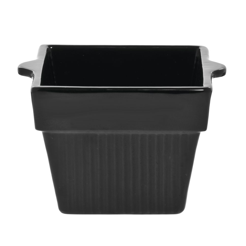 Tablecraft® Square Coated Aluminum Bowl Fluted 1 Qt 16 Oz Black