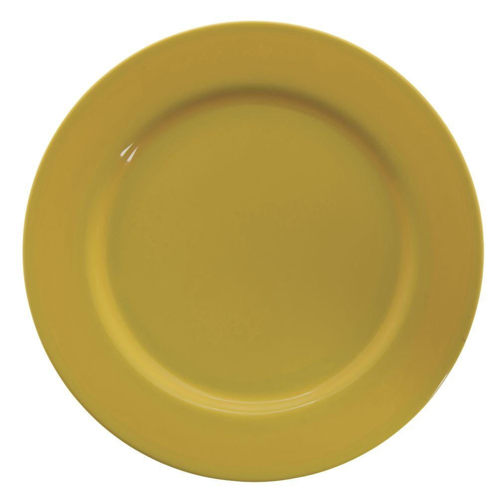 "Hubert® Wide Rim Melamine Dinner Plate 10 1/2"" Yellow"
