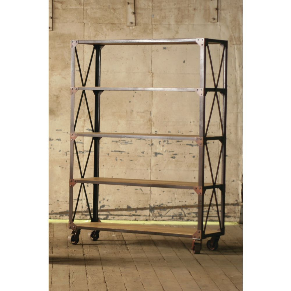 save off 2f9cf df1a8 Vintage Iron and Wood Rolling Shelving Unit - 51