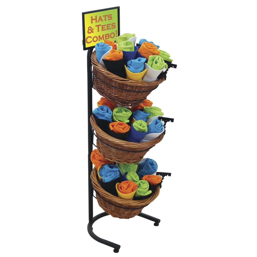 Black Metal 3 Tier Basket Stand With 3 Brown Wicker