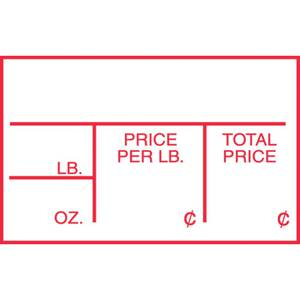 LABEL, PRICE PER LB., RED IMPRINT