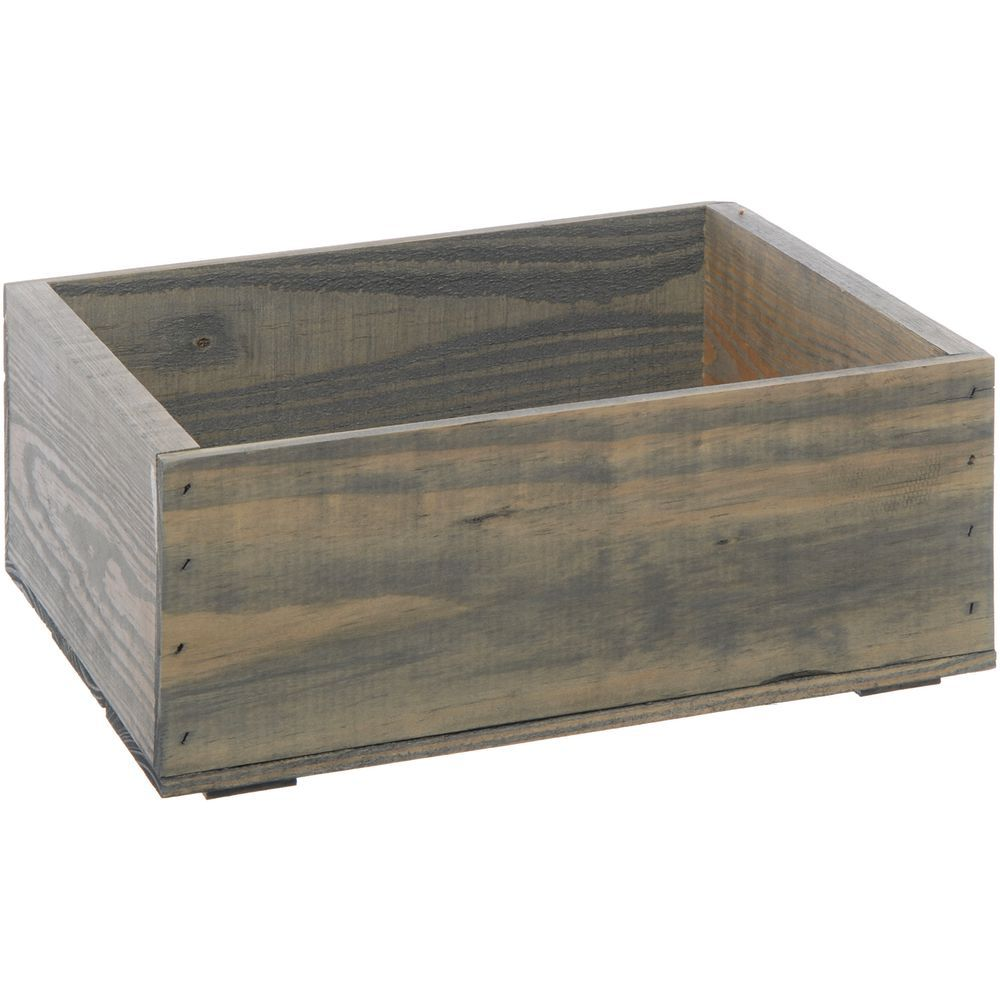 "Wooden Crate Plain Weatherwood Small 14 3/4""L x 11 1/4""W x 5 7/8""H"