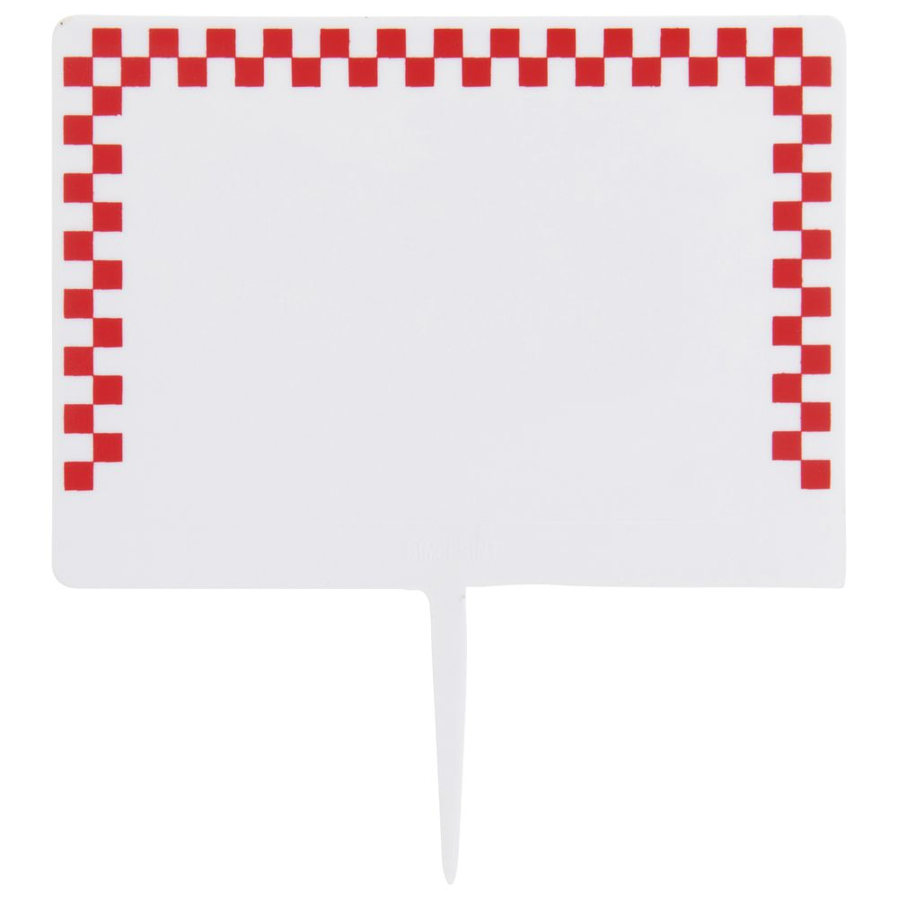 Expressly HUBERT®White Plastic Deli Spear Tags With Red Check Border - 2  1/2