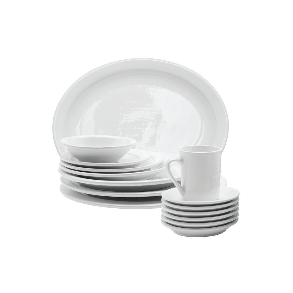 """Hubert Narrow-Rim Platter 11 1/2""""L x 9""""W x 1""""H Bright White Stoneware Dinnerware"""