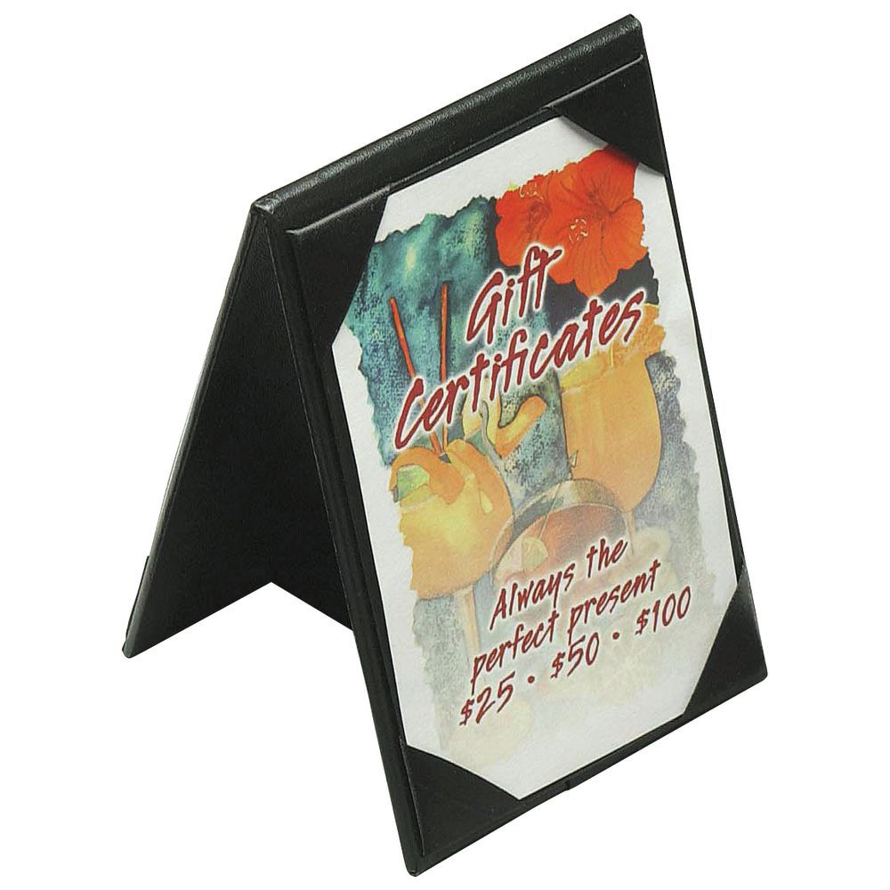 black plastic standard double sided table tent sign holder with