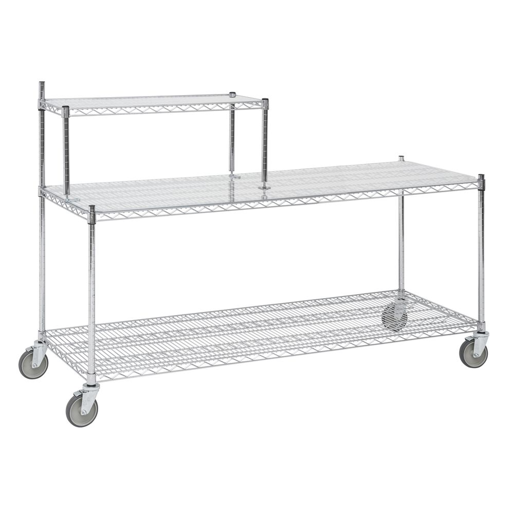 Expressly HUBERT Chrome Plated Steel 3-Shelf Wire Station Cart - 72L ...