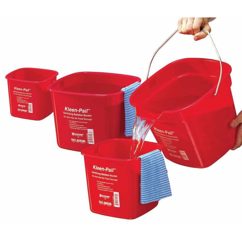 Kleen-Pail Utility Bucket Is 3qt Red For Sanitizing