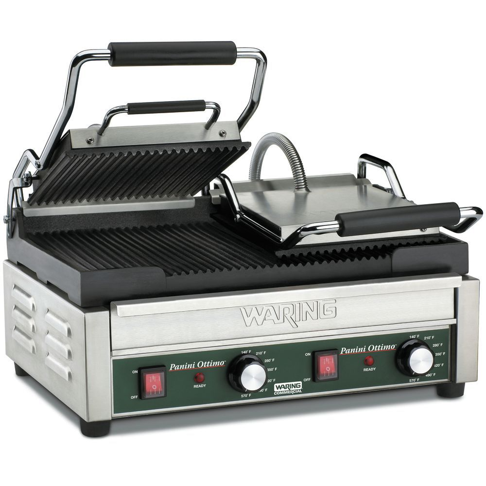 GRILL, PANINI, GROOVED, DOUBLE