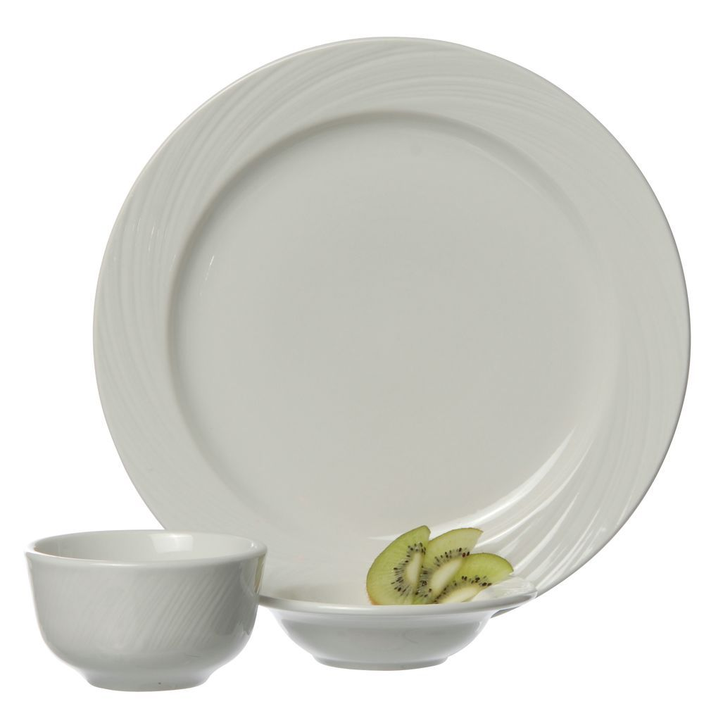 Porcelain Dinnerware is Bright White with a Wide Rim Design