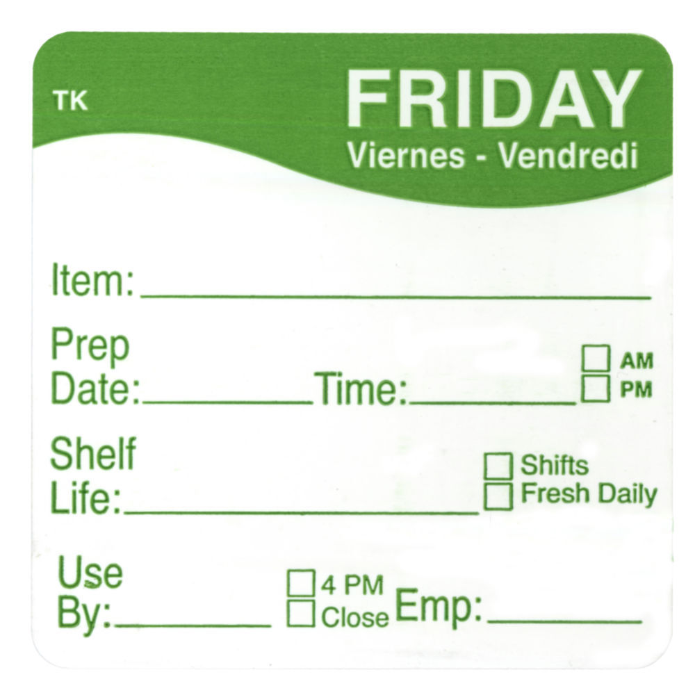 """ToughMark Days Of The Week Labels Green Friday 2"""" Square"""
