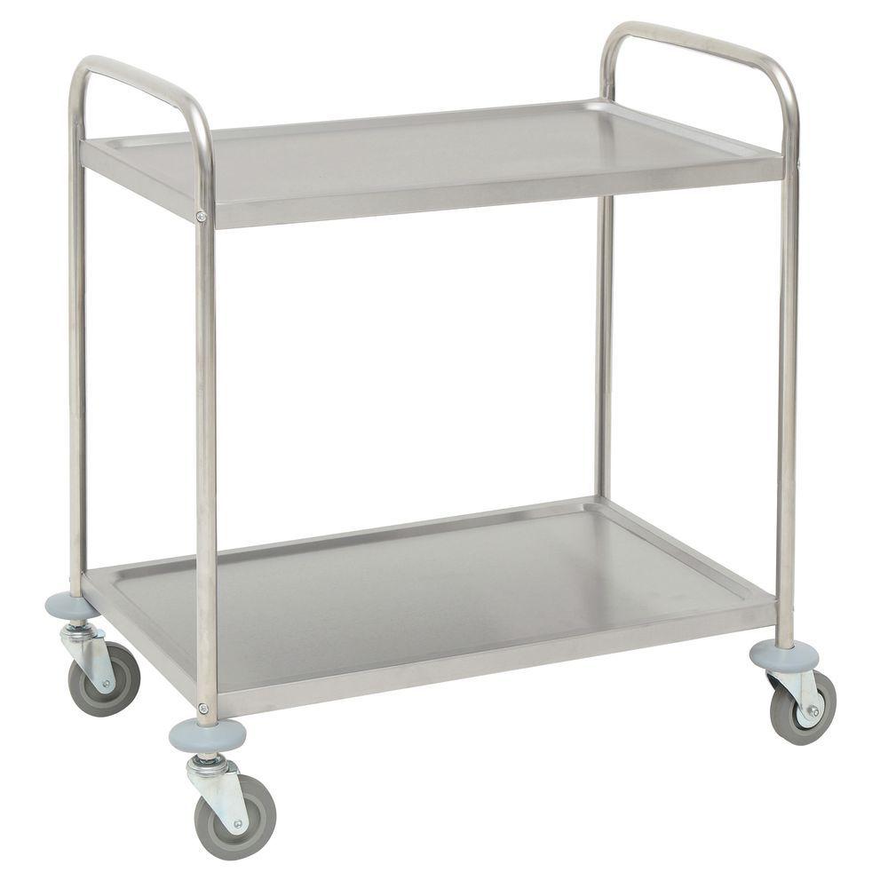 HUBERT® Stainless Steel 2-Shelf Medium Trolley Cart - 31 9/10\