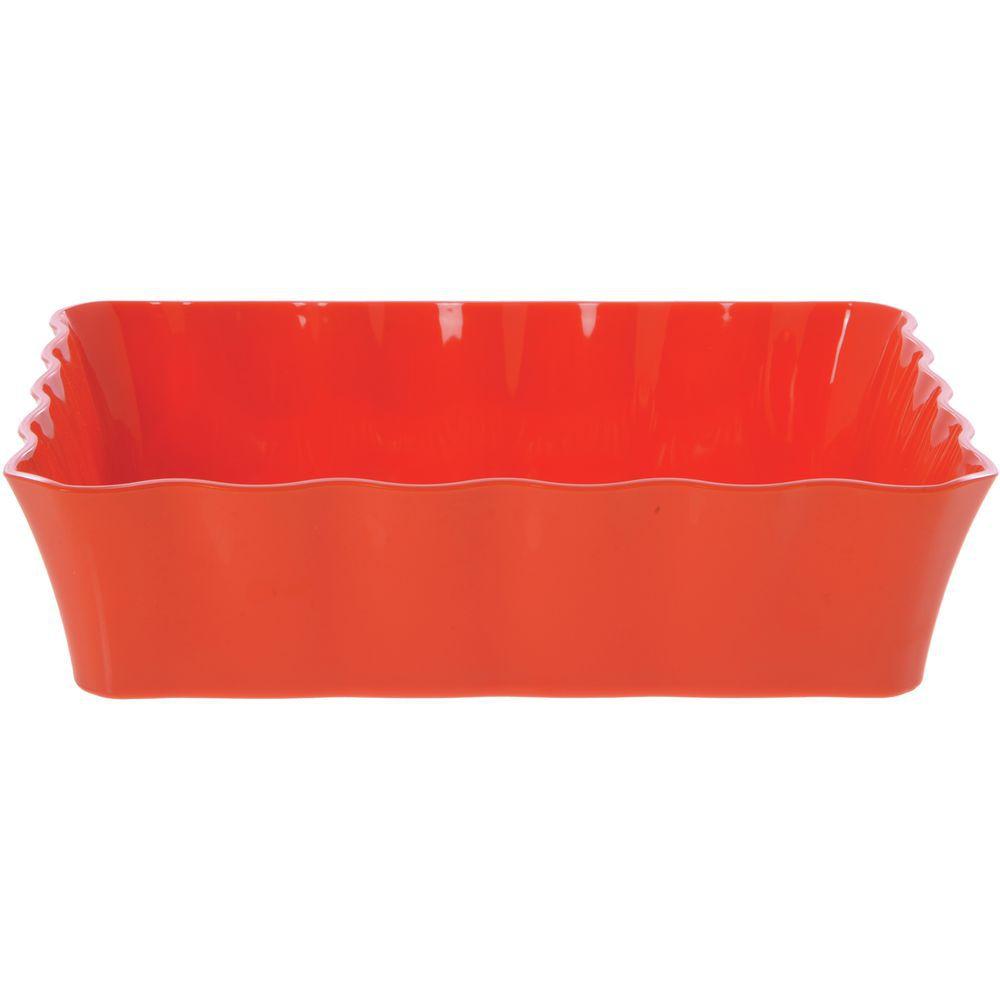 """Colored Deli Crocks / Serving Bowl in Orange Melamine 10lb Capacity 12 1/4""""L x 10 1/4""""W x 3""""H"""