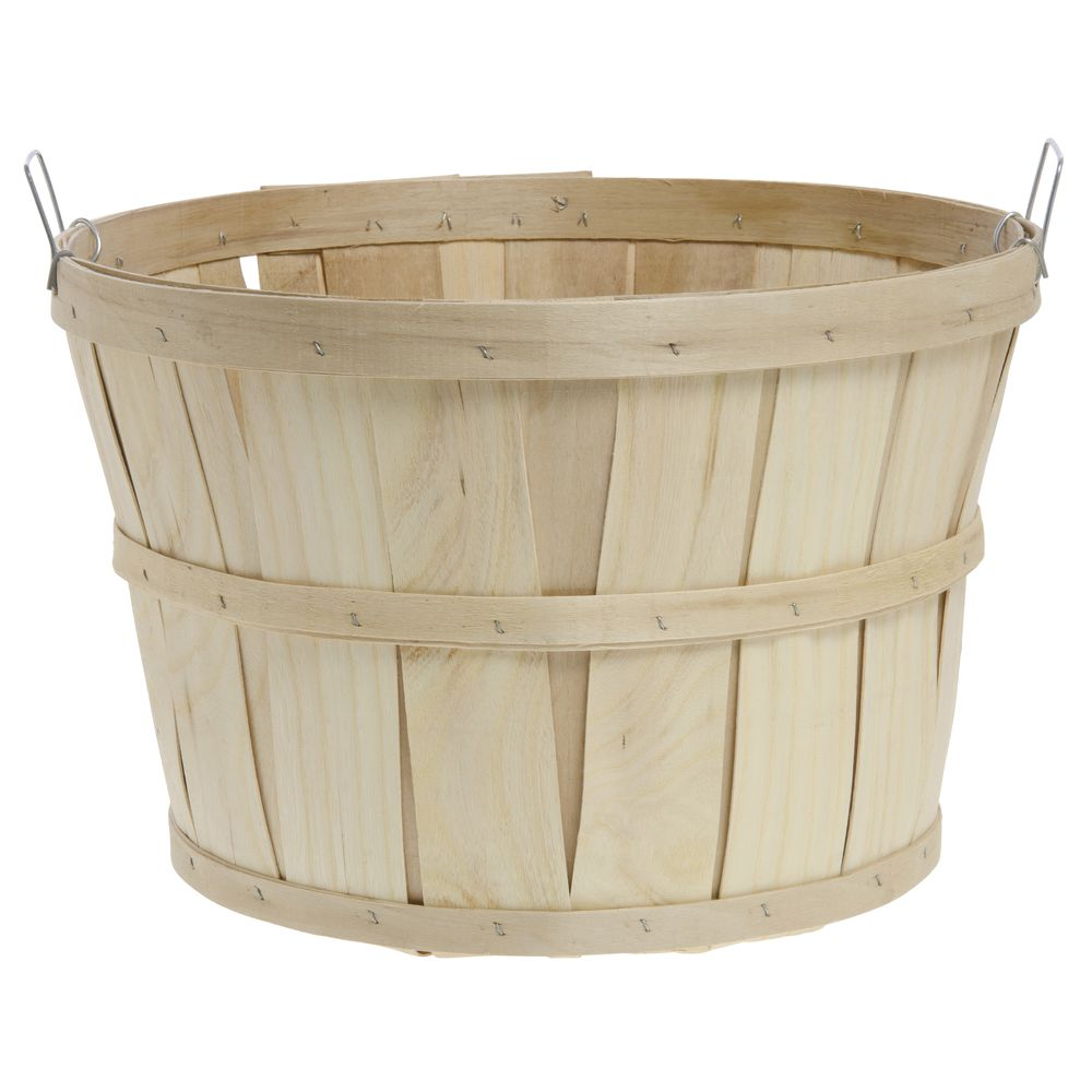 1 Bushel Round Natural Chipwood Farm Basket With Side Handles ...