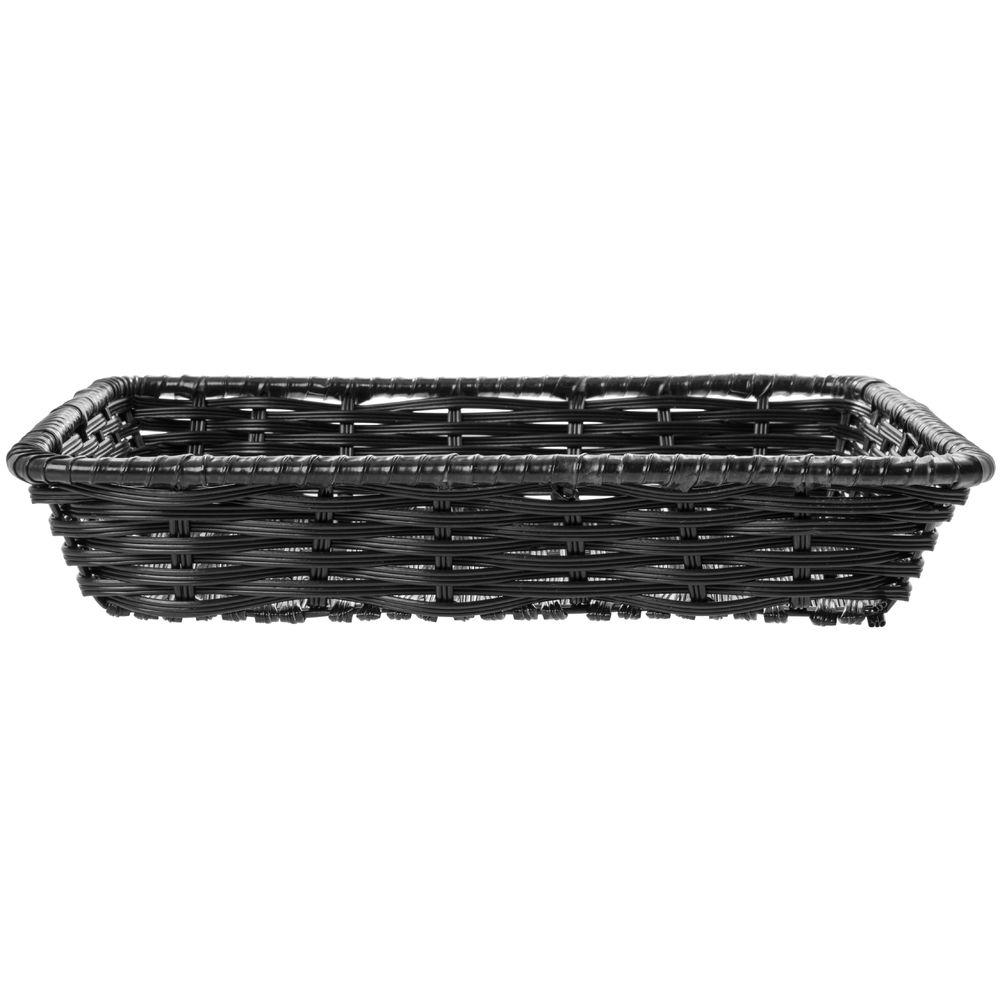 "Expressly Hubert® Tri-Cord Washable Wicker Basket Black 14""L x 12""W x 2 1/2""D"