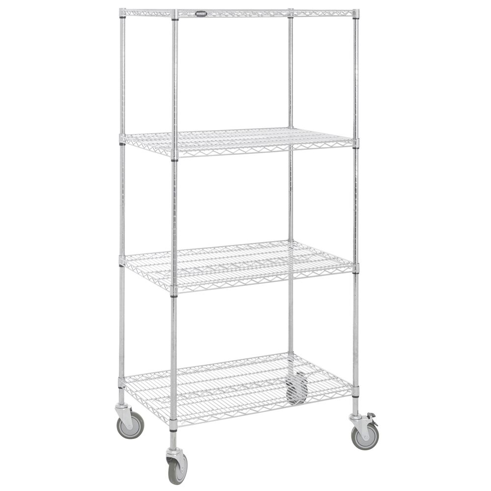 SHELVING, MOBILE, 24X36X78, CHROME PLATED