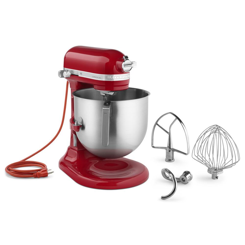 KitchenAid Empire Red 1.3 HP Commercial 8 Qt Bowl Lift Stand Mixer - 13  11/32\'L x 14 19/32\