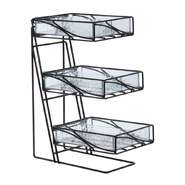 DISPENSER, FAUX GLASS/WIRE 3TIER DIVIDED