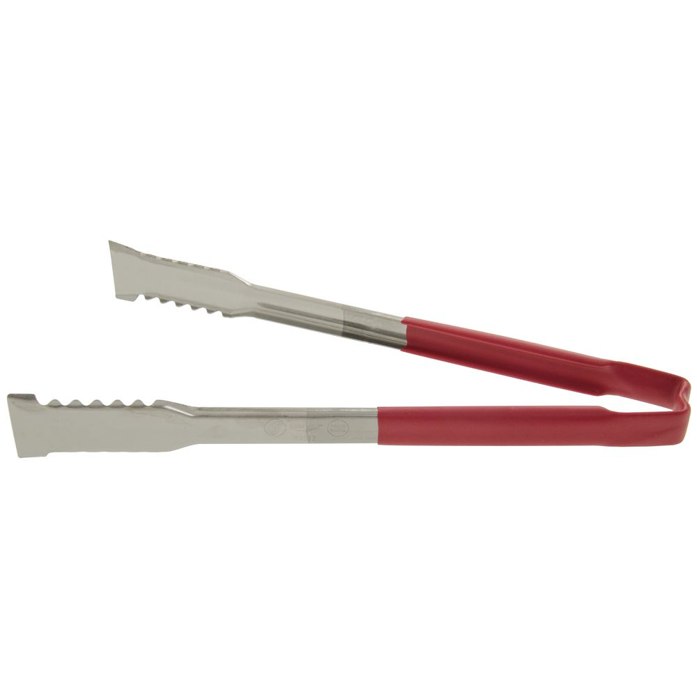 """Vollrath Jacob's Pride Kool-Touch Versagrip 12"""" L Red Scalloped Cooking Tongs"""