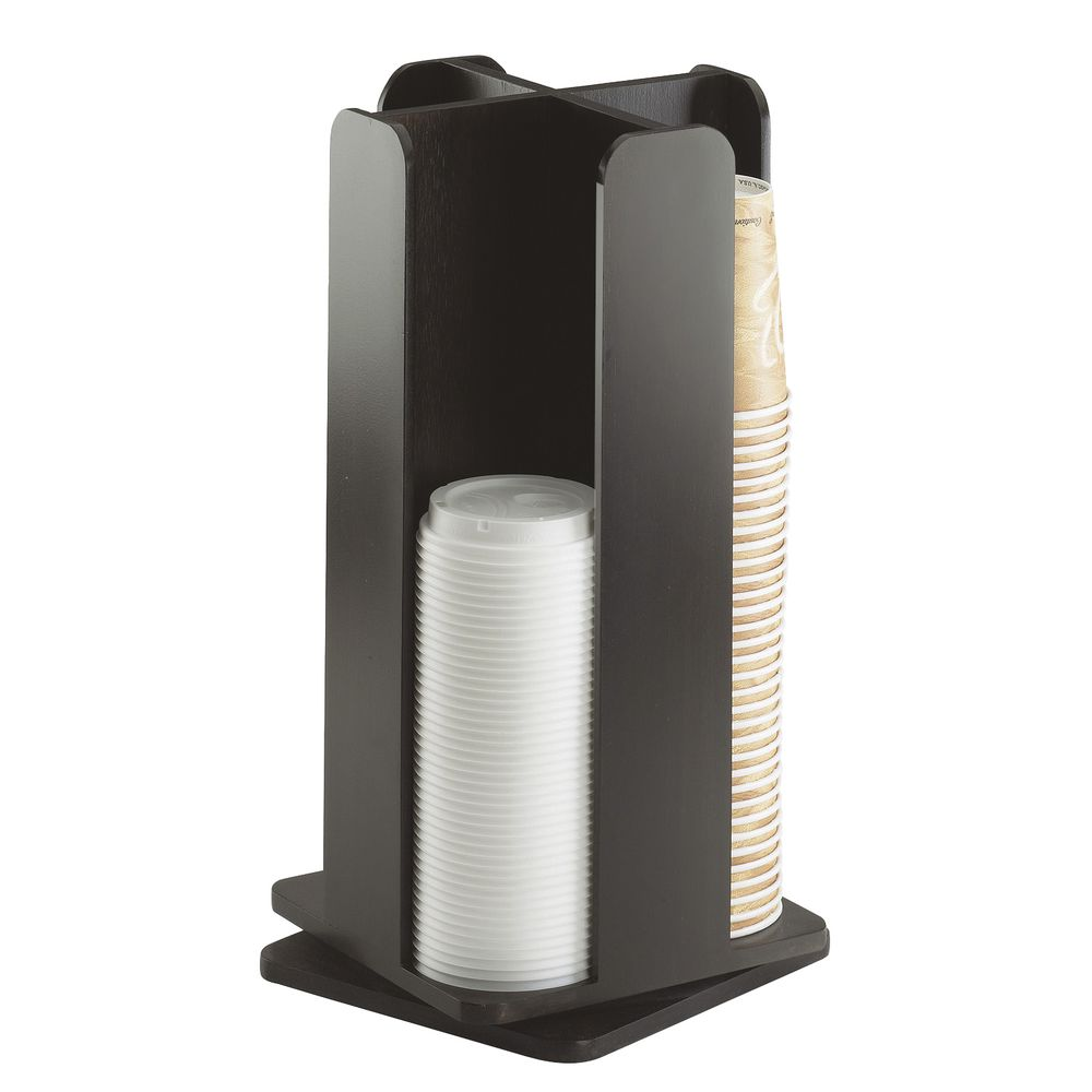 Bamboo Lid And Coffee Cup Dispenser Revolving  4 Section Midnight Black