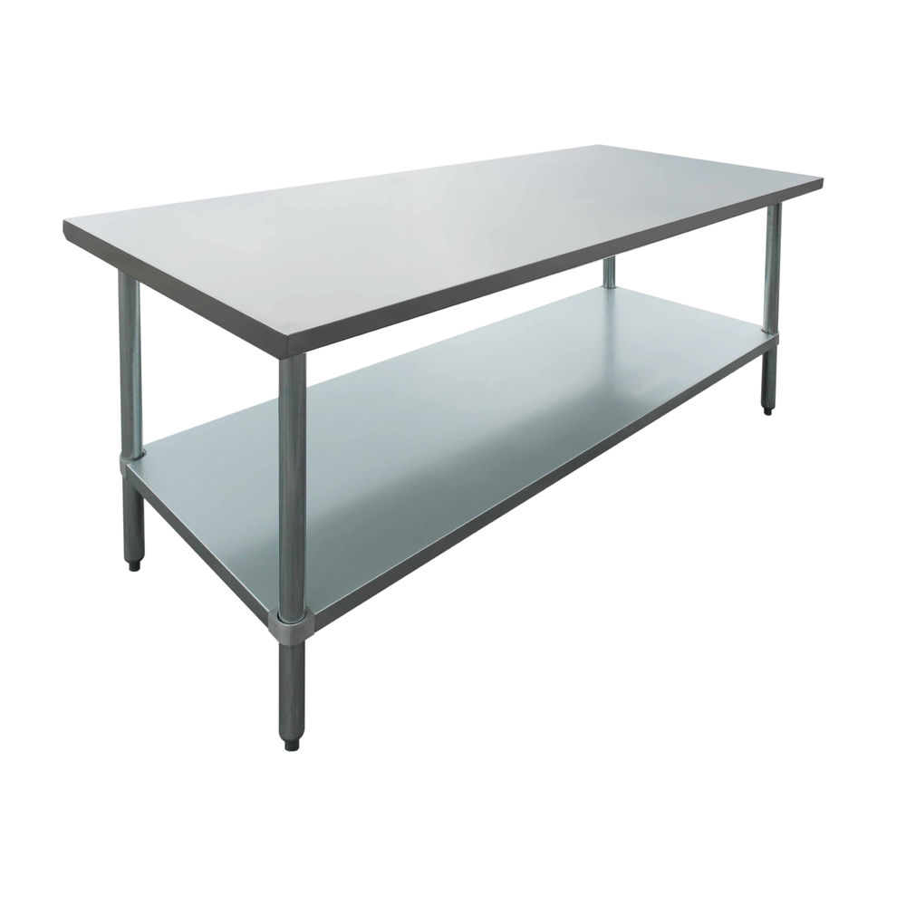 Hubert Stainless Steel Work Table Flat Top With Half Square Edge 72 L X 24 W X 34 H