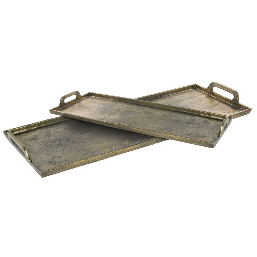 TRAY, ALUMINUM, ANTIQUE BRASS, SMALL