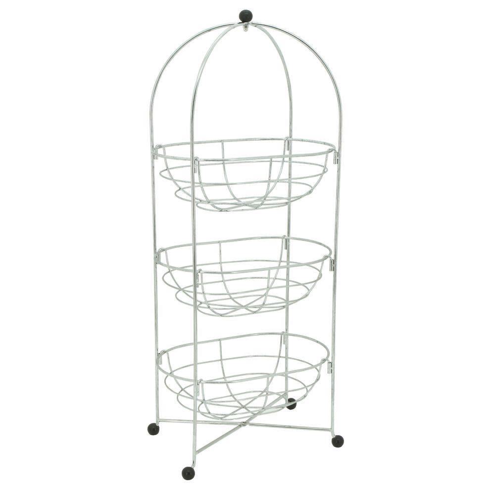 Expressly Hubert 3 Tier Chrome Wire Basket Stand 10 12l X 7
